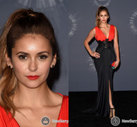 Wholesale 2014 MTV Nina Dobrev Celebrity Dresses Sexy V Neck Prom Gown Red Black Strench Satin Sheath Column Evening Formal Party Dress