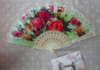 Wholesale Wedding fans Ladies hand fans Bridal accessories Advertising promotional fans Handmade white color plastic handle with lace Hot sale