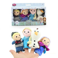 Wholesale Christmas Cartoon Frozen Finger Puppet Stuffed Toys Hand Dolls Flush Of Olaf Kristoff Anna Else In Retail Box For Kids Baby Free UPS