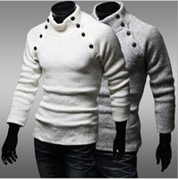 Pullover arrival knitting design - autumn winter new arrival Men s High collar design pullover sweater fashion business casual slim sweaters men
