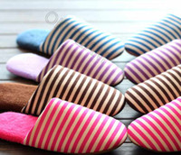 Wholesale Retail High quality New Autumn and Winter Stripes Warm Men Women Cotton padded Lovers Unisex Home Slippers