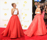 Wholesale The th Emmy Awards Two Piece Coral A Line Celebrity Dresses Spaghetti Sweep Train Ladies Evening Gowns