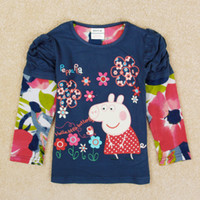 Wholesale 2014 new nova girls peppa pig children clothes flower tops t shirt kids girls floral top navy F5211