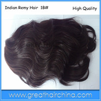 Wholesale Men s Toupee Indian Remy Human Hair Size inch x inch Natural Color b Wave Men s Wig Hair Replacement