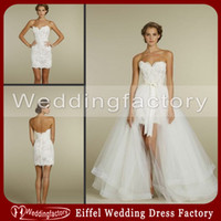 Wholesale Hot Sale in Wedding Dresses Short Mini Sheath Fitted Sweetheart Lace Bridal Gowns with Elegant Detachable Tulle Skirt
