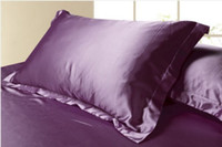 Wholesale 2pc Luxury Queen King Bedding Standard Silk Satin Pillow Case Multiple Colors DH04