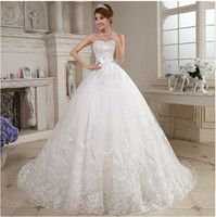 Wholesale 2016 new white fashion Tulle lace ball gown sweetheart crystal Royal Train wedding dresses bridal gowns