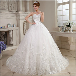 2018 new white fashion Tulle lace ball gown sweetheart crystal Royal Train wedding dresses bridal gowns