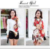 Chiffon Rectangular 150cm-175cm 9.9 chiffon silk scarf free shipping red wagon Korean female spring and summer long wide shawl scarf sunscreen