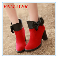Martin Boots big size shoes - ENMAYER big size Fashion bow winter shoes Ankle women s boots Heel Height shoes Martin sexy Round Toe Flock platform boots