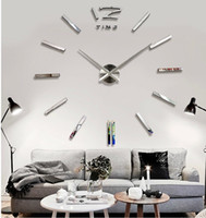 Wholesale cm cm Large Mental D Big Size Home Decor Sticker DIY D Wall Clock Home Decoration Mirrors Face Large Art Hours gift