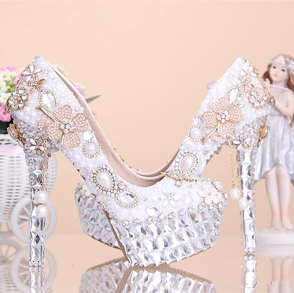 2015 New Fashion Crystal Pearl Wedding Shoes Ultra High Heels ...
