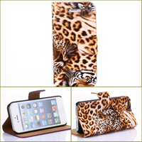 Wholesale 2pcs Tiger Leopard Leather Wallet ID Credit Card Slot Purse Stand Purse book Pouch For iphone Air G TH holder Skin Luxury case