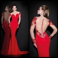 Reference Images V-Neck Chiffon 2015 New Arrival Tarik Ediz Long Sleeve Sheer Neck Red Formal Evening Pageant Dresses Sheath Backless Sexy Celebrity Party Prom Gowns SSJ