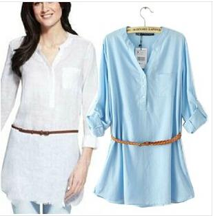 2017 Women Shirts Casual White Blue Women Linen Blouse