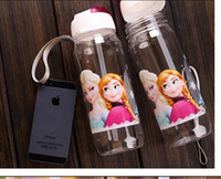 Wholesale 2 colors new FROZEN plastic water bottle Frozen Princess Slide Kid Children Water Bottle with Straw ml String