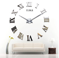 Wholesale cm cm Large Mental D Big Size Home Decor Sticker DIY Wall Clock Home Decoration Mirrors Face Large Art Hour gifts W021