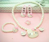 Wholesale Crystal Hello Kitty Children Jewelry Set hairpins cartoon children clothing sets jewelry gift CSE0007