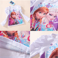 Girl top brand t-shirts - frozen girls long sleeve T shirt new arrival autumn clothing brand children kids lovely white tops cotton tunic leisure tees christmas