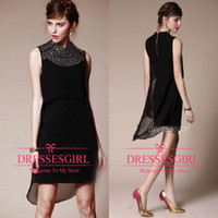 Reference Images Short/Mini Chiffon Only $69 2014 New Fashion Black Chiffon Party Dresses High Neck Beaded Short Mini Elegant 2015 Cheap In Stock Prom Night Club Evening Gowns