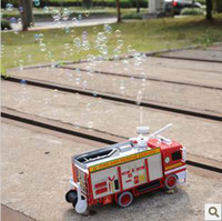 5-7 Years Car Plastic Free Shipping child car electric bubble car toys fire truck automatic bubble machine band music electronic toys car