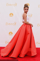 Wholesale 2014 Emmy Awards Celebrity Dresses Sarah Hyland White Tops Red Dress A Line Sweep Train Satin Prom Dresses