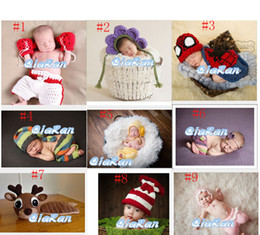 Wholesale New Spider man Boxer Style Baby Photography Props Costume Outfit Newborn Infant Crochet Hat Set Handmade Knitted Cartoon Beanie