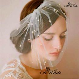 Romantic Newest Pearls Bridal Veils White Short Delicate Network Wedding Veils Bridal Headwear Accessories High Qualtiy
