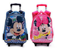 Wholesale Gilr Children Trolley Bags for School Girls Mouse Minnie Backpack Travelling Trolley Luggage Baby Kids School Bags on Wheels