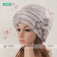 Wholesale mink fur berets six colors new style lady genuine fashion fur hats