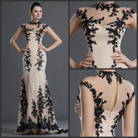 Reference Images High Neck Chiffon New Sexy zuhair murad Champagne Evening Dresses Chiffon With Black Appliques Free Shipping Babyonline Mermaid Party Gown Cheap Price Beads