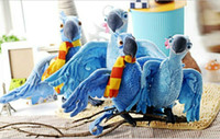"""Wholesale Stuffed Parrot Toys - 10pcs 35cm 14"""" The Movie RIO Character Blu and Jewel Plush Toy Parrot Bird Stuffed Animal Soft Doll"""