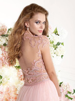 Reference Images Scalloped Chiffon Wholesale - Tarik Ediz 2014 Spring Summer Prom Dresses Formals Pageant Evening Gown With Capped Sleeve Pink Sheer Back See Through High Neck