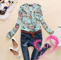 V-Neck Regular Acetate New 2014 spring v-neck chiffon blouse women's long sleeve flower printed shirt women clothing blusas femininas dudalina WF-535