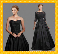 Wholesale 2016 Taffeta Black Ball Gown Mother of the Bride Dresses Detachable Jacket Sheer Short Sleeves Full Length Wedding Evening Guest Gowns