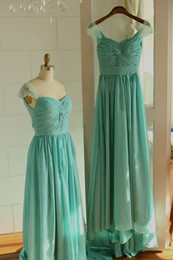 Real Image! Column Bridesmaid Dresses Sweetheart Cap Sleeve Beaded Pleated Ruched Teal Chiffon Elegant Prom Gowns Custom Made B6 Fashionable