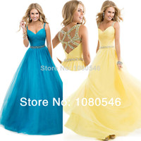 Wholesale Beaded Chiffon Long Prom Dresses Spring Sexy Crystal Open Back Belt Spaghetti Straps Evening Dresses