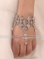 jewelry made in china - sg Popular Hot Sell Sparkle Rhinestone Party Prom Wedding Bridal Jewelry Bridal Accessory Bracelet with Ring Made In China