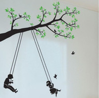 swing - Kids Swing Tree Butterfly Birds Mural Art Removable Decals Large Wall Sticker Decor DH04