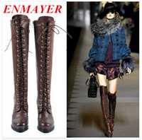 Wholesale ENMAYER high quality sexy winter boots designer women thigh high boots new lace up Knee Corium boot high heel Retro Knight boots