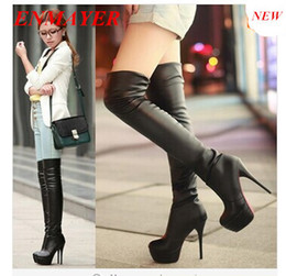 Wholesale ENMAYER new Elastic SkinTight Platforms High Heel cm Women Over Knee Boots Thigh High Long Boot big size Brown