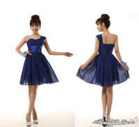 Model Pictures Short/Mini Chiffon 2015 Cheap Navy Blue Party Dresses Sweet One shoulder Ruffles A Line Short Chiffon Simple Sexy Cocktail Evening Gowns