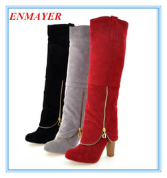 Wholesale ENMAYER Women s Boots new Autumn winter New fashion ladies sexy Knee high boots high leg zipper long boots