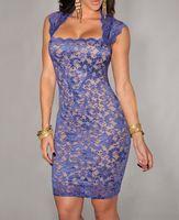 Wholesale New women lace bodycon dress Sexy Royal Blue Lace Nude Illusion Vintage Dress B4852