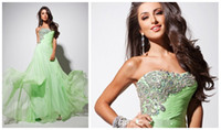 Reference Images Sweetheart Chiffon 2014 Hot Sale Natural Waist Srtapless A-line Boho Maxi Dress Applique Crystals Drape Floor-length Elegant Chiffon Elegant Party Dresse