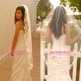 Wholesale Waltz Wedding Veil with Double Cut French Alencon Lace Bridal Veil Spanish Mantilla Luxor