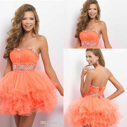 Wholesale 2015 Lovely Crystal Sweetheart Strapless Orange Mini Short Tulle Cocktail Dresses Party Gown Prom Dress Homecoming Dresses