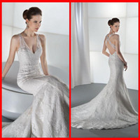 Trumpet/Mermaid Reference Images V-Neck 2014 Sexy V Neck Demetrios Mermaid Wedding Dresses White Lace With Beads Backless Bridal Gowns Appliques