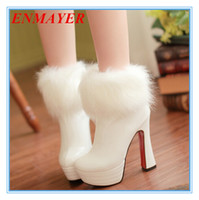 Wholesale ENMAYER new ankle boots women fashion short boot winter footwear high heel shoes sexy snow boots big size