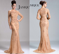 Wholesale Janique Designer Vintage Mother of the Bride Dress Sheer Lace Crew Long Sleeve Gowns Mermaid Sweep Train Lace Modest Formal Evening Gowns